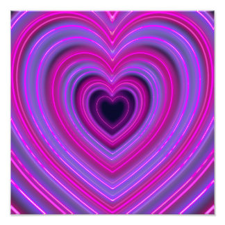 Pink and Purple Cute Girly Neon Hearts Photo Print