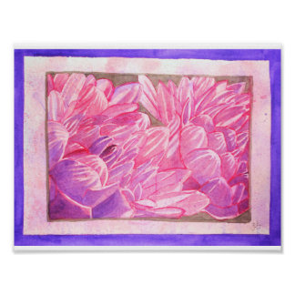 Pink and Purple Dahlias Watercolor Poster
