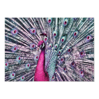 Pink and Purple Fantasy Peacock Party Invitations