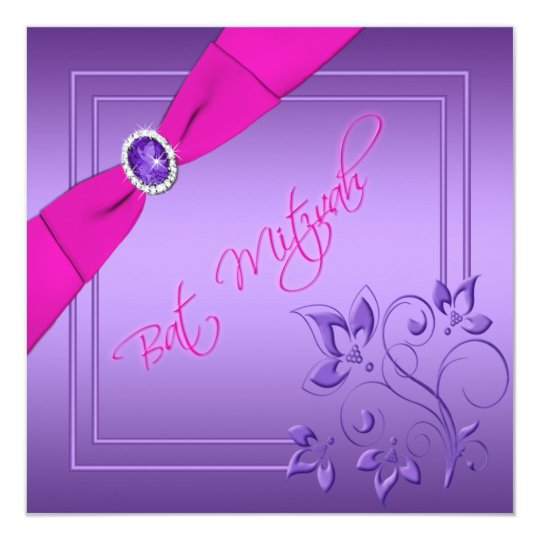 Pink and Purple Floral Bat Mitzvah Invitation