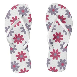 Pink and Purple Floral Flip Flops