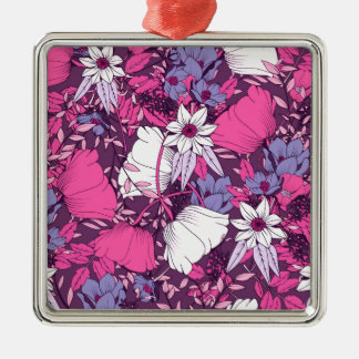 Pink and Purple Floral Pattern Silver-Colored Square Decoration
