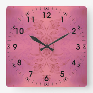 Pink And Purple Floral Square Wall Clock
