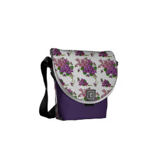 Pink And Purple Flowers Messenger Bag