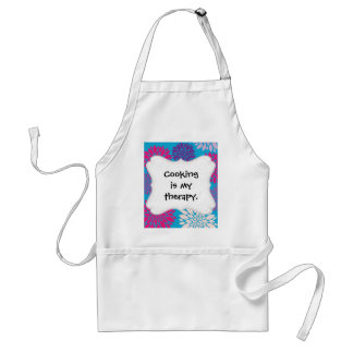 Pink and Purple Flowers on Teal Blue Standard Apron