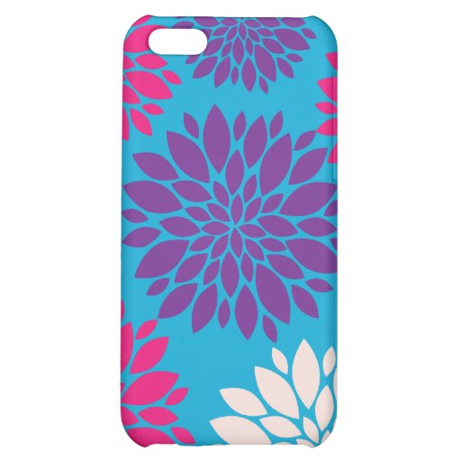 Pink and Purple Flowers on Teal Blue Cover For iPhone 5C