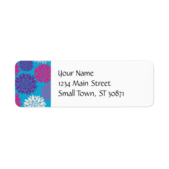 Pink and Purple Flowers on Teal Blue Return Address Label