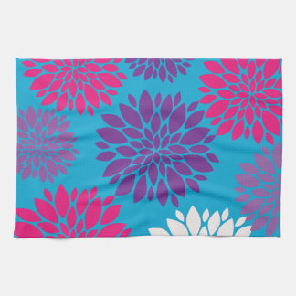 Pink and Purple Flowers on Teal Blue Tea Towel