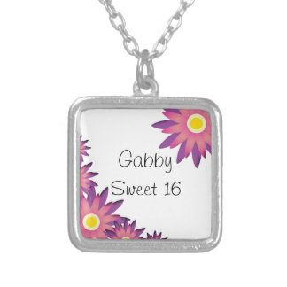 Pink and Purple Flowers Sweet 16 Necklace