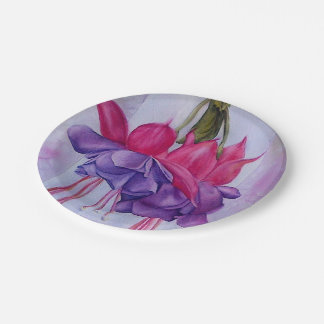 PINK AND PURPLE FUSCHIA FLOWER PAPER PLATES