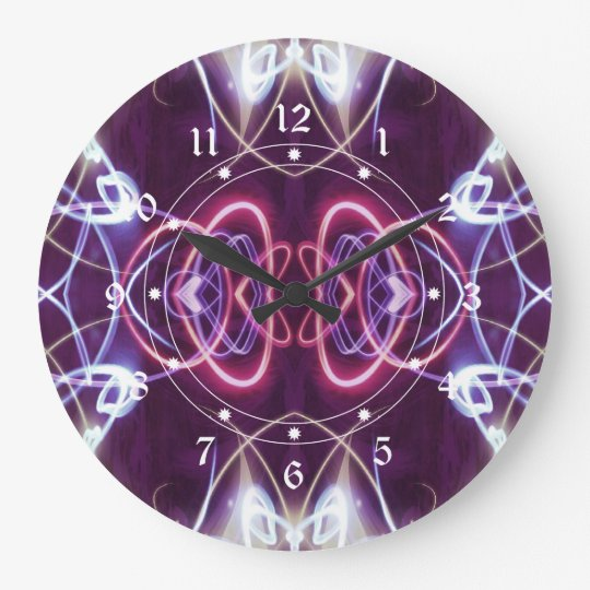 Pink And Purple Geometric Abstract Pattern Large Clock