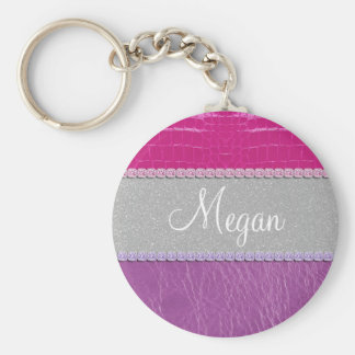 Pink and Purple Glittery Print Key Ring