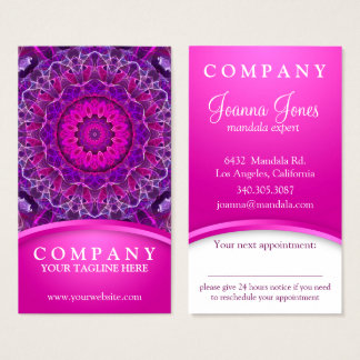 Pink and Purple glowing mandala -pink, appointment Business Card