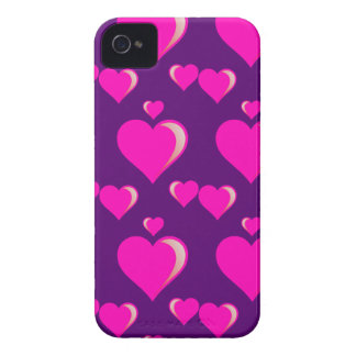 Pink and Purple Hearts Valentine's Day Love iPhone 4 Covers