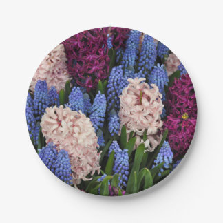 Pink and purple hyacinth flowers 7 inch paper plate