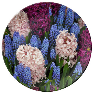 Pink and purple hyacinth flowers porcelain plate