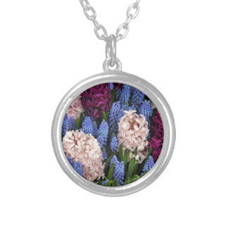 Pink and purple hyacinth flowers round pendant necklace