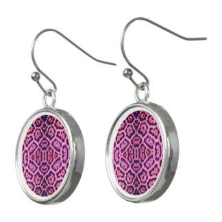 Pink and Purple Jaguar Fur Earrings