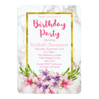 Pink and Purple Magnolias on Marble Birthday Card