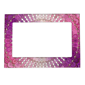 Pink and Purple Mandala Flower Magnetic Picture Frame