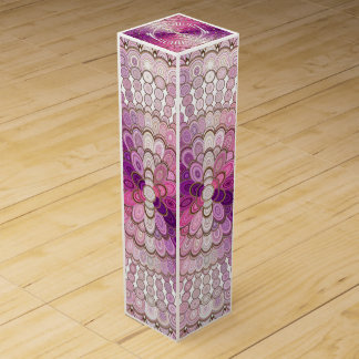 Pink and Purple Mandala Flower Wine Gift Box