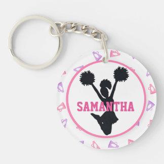 Pink and Purple Megaphones Cheerleader Photo Key Ring