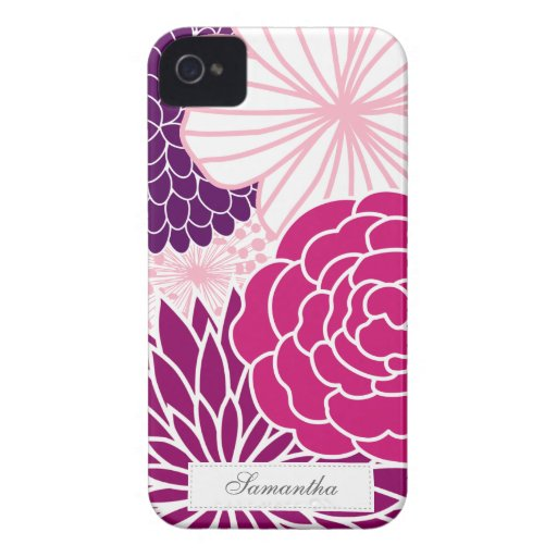 Pink and Purple Mod Floral iPhone 4 Cases
