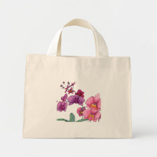 Pink and purple orchid flowers mini tote bag