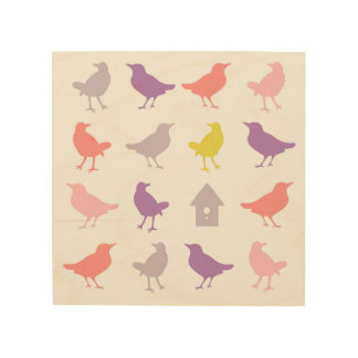 Pink and Purple Pastel Birds with Birdhouse Wood Wall Decor