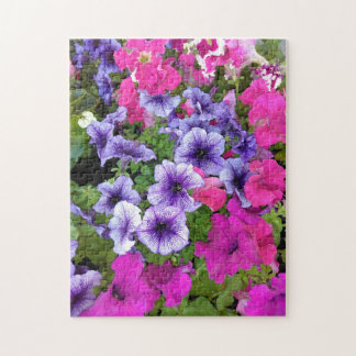 Pink and Purple Petunia Blossom Jigsaw Puzzle