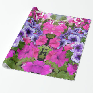 Pink and Purple Petunia Blossom Wrapping Paper