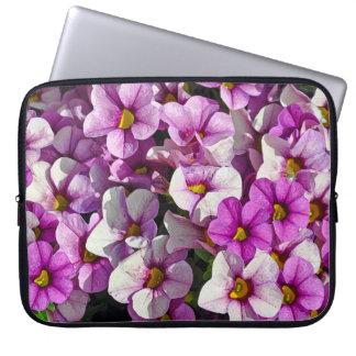 Pink and purple petunias laptop sleeves