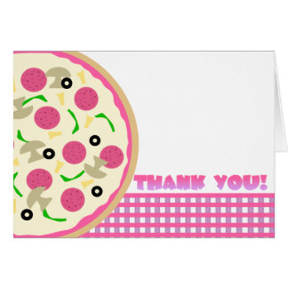 Pink and Purple Pizza Party Thank You Note Card