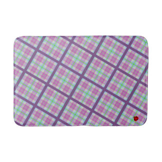 Pink and Purple Plaid with a Lady Bug Bath Mat