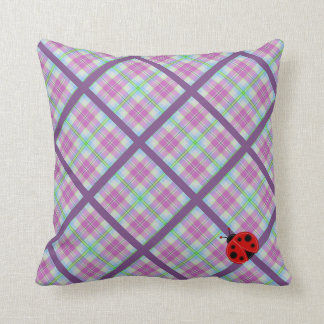 Pink and Purple Plaid with Lady Bug Cushion