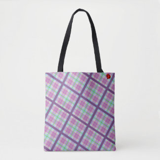 Pink and Purple Plaid with Lady Bug Tote Bag