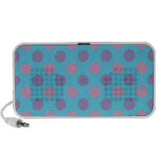 Pink and purple polka dots on blue background mini speaker