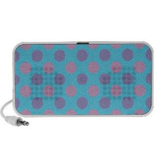 Pink and purple polka dots on blue background mini speaker
