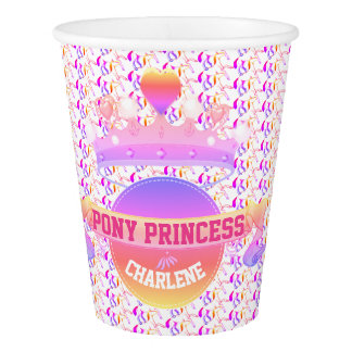 Pink and Purple Pony Princess Paper Cup