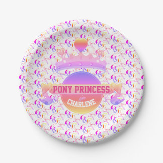 Pink and Purple Pony Princess Paper Plate