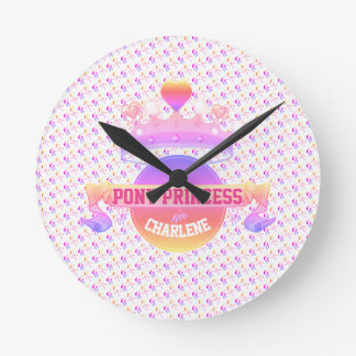 Pink and Purple Pony Princess Round Clock
