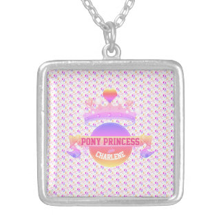 Pink and Purple Pony Princess Silver Plated Necklace