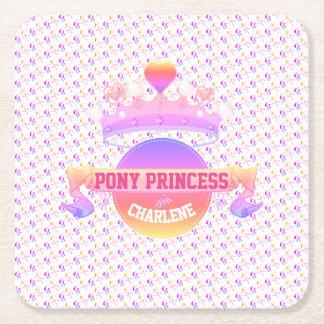 Pink and Purple Pony Princess Square Paper Coaster