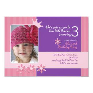 Pink and Purple Princess Invitation Photocard