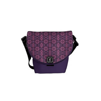 Pink and Purple Retro Geometric Floral Messenger Bags
