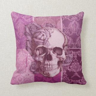 Pink and Purple Rose Skull damask pillow. Cushion
