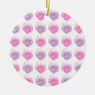 Pink and purple roses floral pattern ceramic ornament