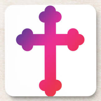 Pink and Purple Simple Christian Cross Drink Coasters
