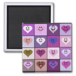 Pink and Purple Smiley Hearts Square Magnet