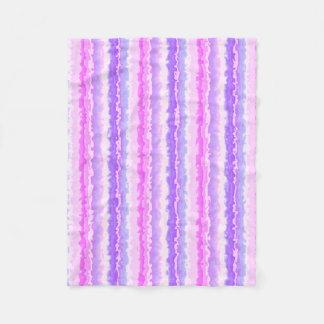 Pink and Purple Spattered Fractal Stripes Fleece Blanket